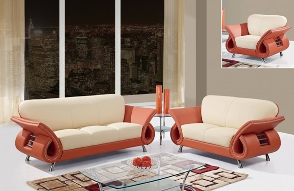 U559 Series Orange Beige Leather Match 3pc Living Room Set GL-U559-LR-S2
