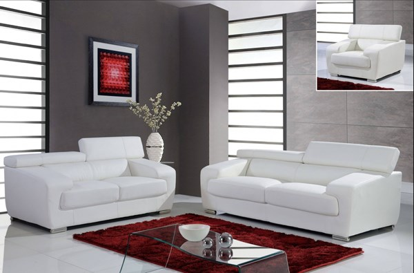 Contemporary white full leather living room set the for Wg r living room sets