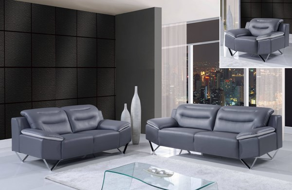 Natalie Contemporary Dark Grey Bonded Leather 3pc Living Room Set GL-U7181-R6U6-LR-S1