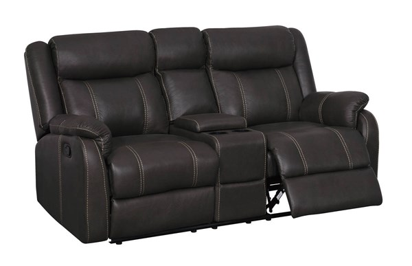 Gin Rummy Charcoal Printed Microfiber Console Loveseat With Drawer GL-U7303C-CRLS-W-DRAWER-M