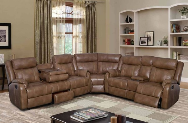 U7303C Series Blanche Walnut Leather Gel 3pc Sectional GL-U7303C-BLANCHE-WALNUT-SECTIONAL-M