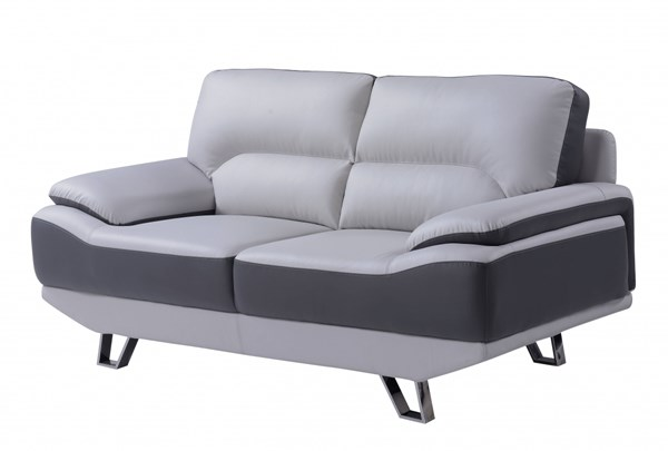 Natalie Contemporary Light Dark Grey Bonded Leather Loveseat GL-U7330-R6U6-L