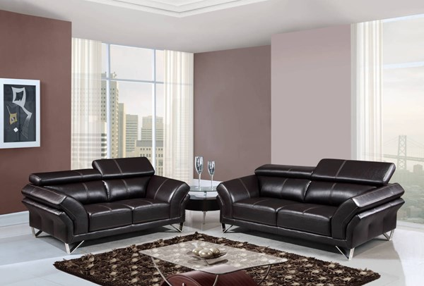 U7590 Series Agnes Walnut Leather Gel 3pc Living Room Set GL-U7590-AGNES-WALNUT-S-L-CH
