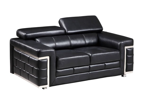 U7940 Series Blanche Black Leather Gel Loveseat GL-U7940-DTP672-B-BL-L
