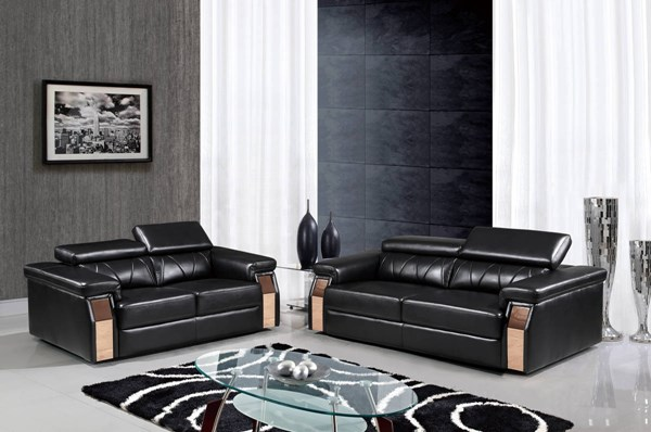 U8012 Series Blanche Black Leather Gel Living Room Set GL-U8012