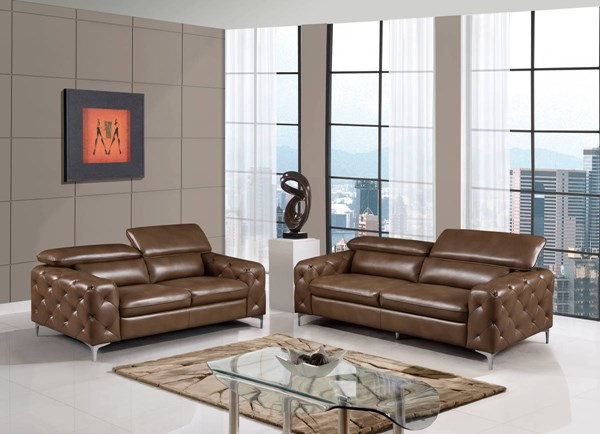U8050 Series Blanche Walnut Leather Gel Living Room Set GL-U8050