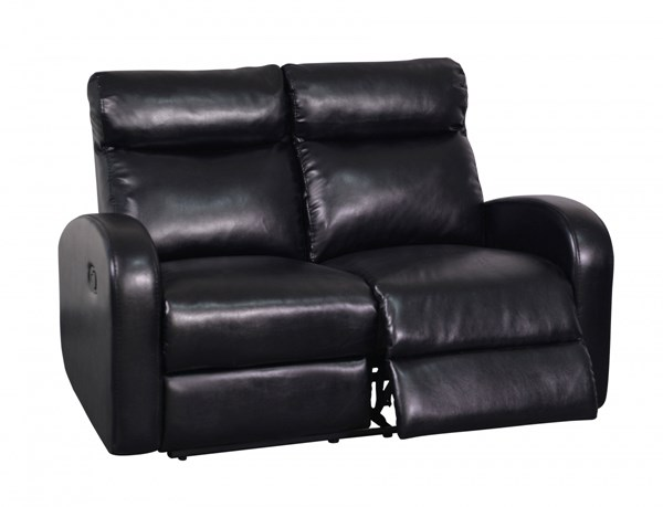 Contemporary Black Bonded Leather Padded Headrests Reclining Loveseat GL-U8129-R-L-M