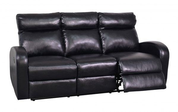 Contemporary Black Bonded Leather Reclining Sofa w/Padded Headrests GL-U8129-R-S-M