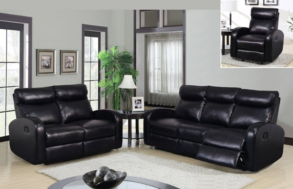 Contemporary Black Bonded Leather 3pc Living Room Set w/Headrests GL-U8129-LR-S1