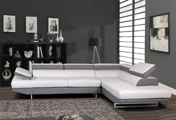 Global Furniture U8137 Light Grey Bonded Leather Sectional GL-U8137N-2PC-SEC-M
