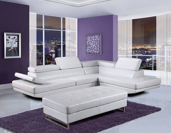 U8138 Series White Bonded Leather Sectional GL-U8138-WHITE-SECTIONAL-M