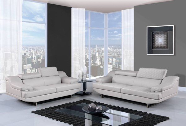 U8141 Series Natalie Grey Black Bonded Leather 3pc Living Room Set GL-U8141-S