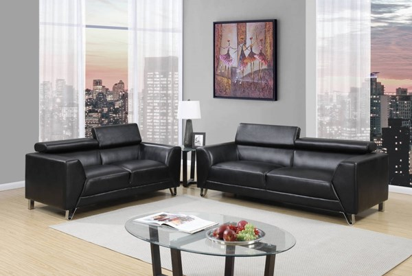 U8210 Series Pluto Black PU 3pc Living Room Set GL-U8210-PLUTO-BLACK-S-L-CH