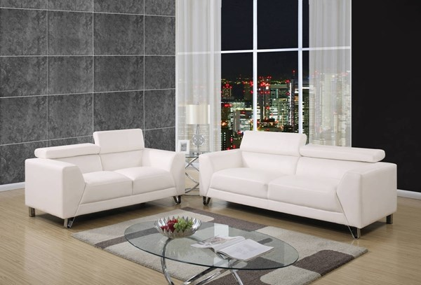 U8210 Series Pluto White PU 3pc Living Room Set GL-U8210-PLUTO-WHITE-S-L-CH