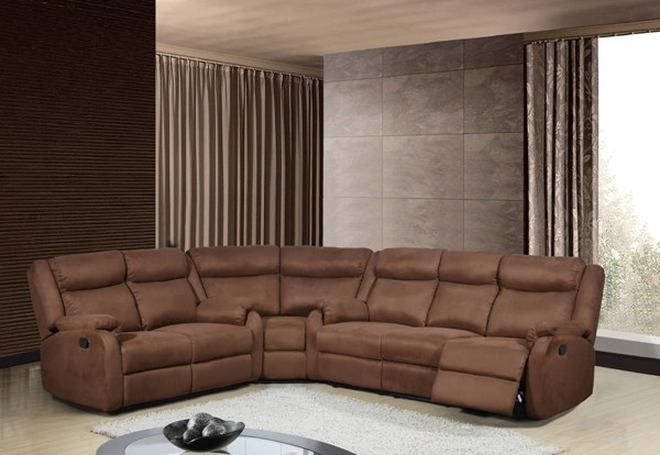 Contemporary Chocolate Microfiber 3pc Sectional w/Headrests GL-U8303-MF-CHOC-SEC-M