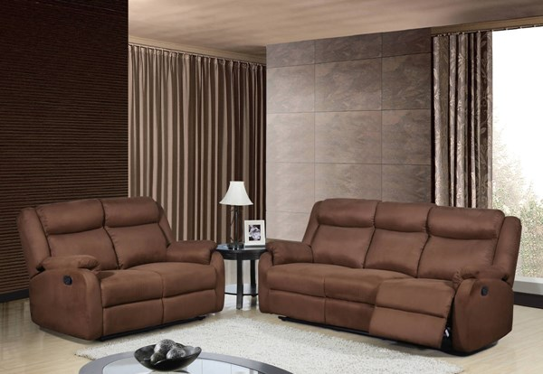 Contemporary Chocolate Microfiber Living Room Set w/Padded Headrests GL-U8303-MF-CHOCO-LR