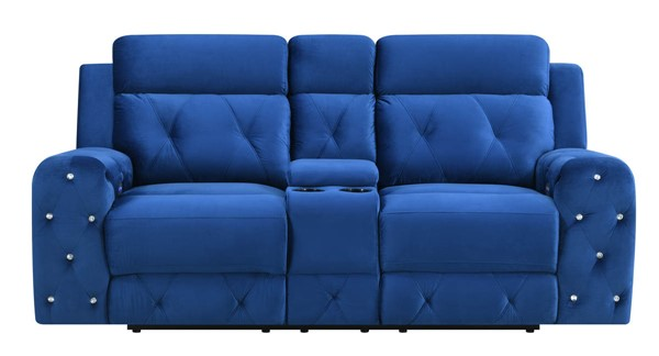 Global Furniture U8311 Blue Velvet Power Console Reclining Loveseat GL-U8311-BLUE-VELVET-PCRLS