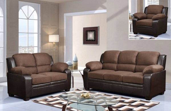 U880018KD Series Contemporary Chocolate Microfiber Living Room Set GL-U880018KD-M-LR