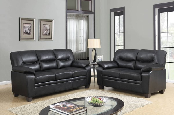 U880028 Series Black PU 3pc Living Room Set GL-U880028-BL-S-L-C