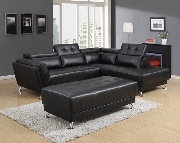 U8859N Series Black PU Sectional GL-U8859N-BL-SECTIONAL-M