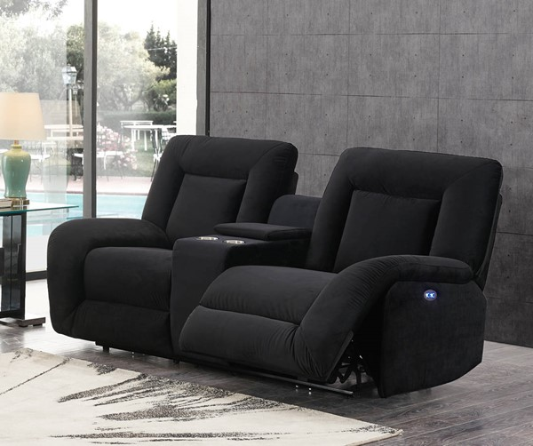 Global Furniture U8900 Black Velvet Power Console Reclining Loveseat GL-U8900-BLK-VELVET-CC29-PCRLS