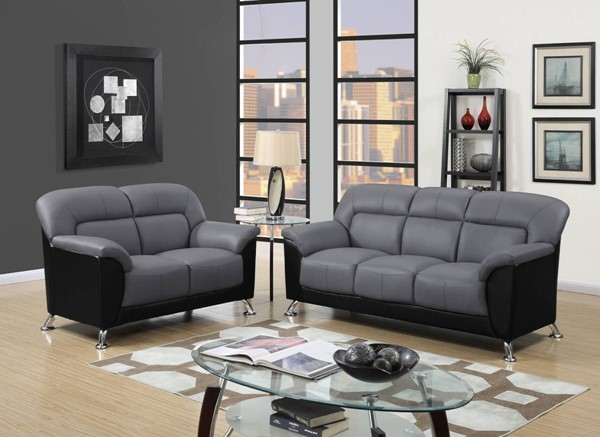 U9102 Series Dark Grey Black PVC 3pc Living Room Set GL-U9102-DGR-BL-S-L-CH