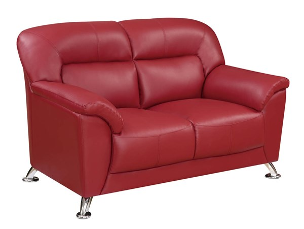 U9102 Series Red PVC Loveseat GL-U9102-RED-LOVESEAT-M