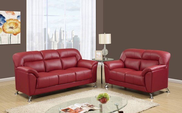 U9102 Series Red PVC 3pc Living Room Set GL-U9102-RED-S-L-CH