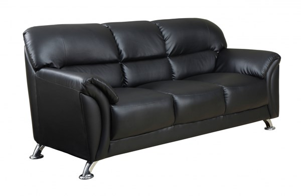 U9103 Series Contemporary Black PVC Sofa GL-U9103-BL-S-M