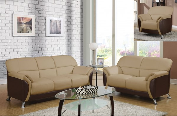 U9103 Series Contemporary Black Cappuccino PVC Living Room Set GL-U9103-M-LR