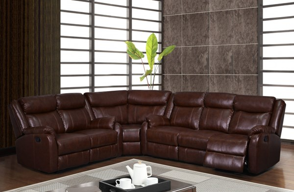 Transitional Brown Bonded Leather Plush Padded Headrest 3pc Sectional GL-U9303C-BR-3PC-SEC-M