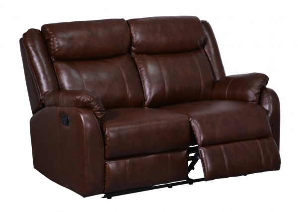Transitional Brown Bonded Leather Padded Headrest Reclining Loveseat GL-U9303C-BR-R-L-M