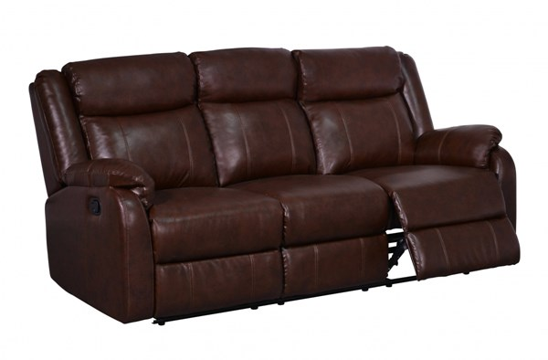 Transitional Brown Bonded Leather Plush Padded Headrest Reclining Sofa GL-U9303C-BR-R-S-M