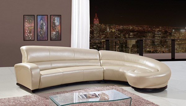 Beige Wood Leather Sectional W/Left-right Chaise GL-U958-SC