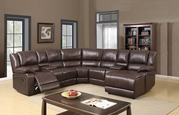 U96180 Series Brown Leather Gel 5pc Sectional GL-U96180-SECTIONAL-M