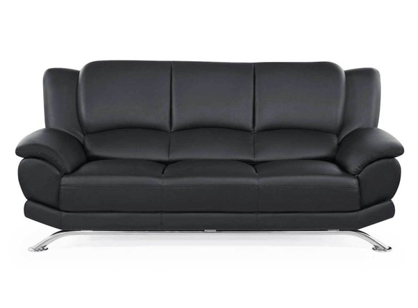 Global Furniture U9908 Chrome Black Bonded Leather Sofa with Legs GL-U9908-BL-S-W-LEGS-M