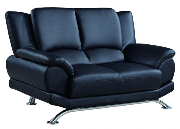 U9908 Series Black Bonded Leather Loveseat GL-U9908-BL-L-M