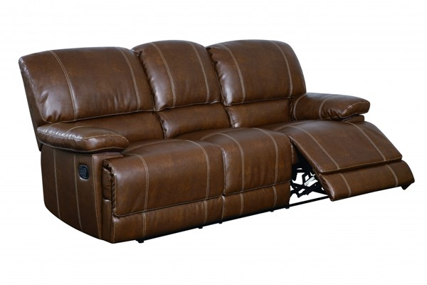 Brown Bonded Leather Cushions Reclining Sofa GL-U9963-RODEO-BROWN-R-S-M