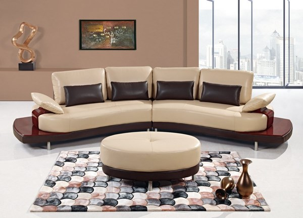 Dark Brown Wood Bonded Leather Sectional GL-UA131-SC