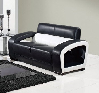 Black White Wood Bonded Leather Cushion Back Loveseat GL-UA199-LS
