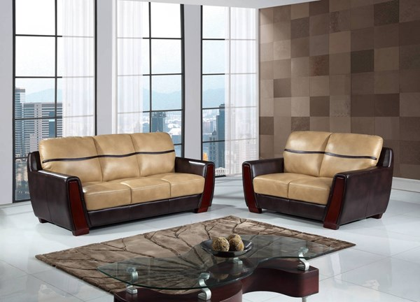 UFM226 Series Pluto Ivory Chocolate PU Living Room Set GL-UFM226