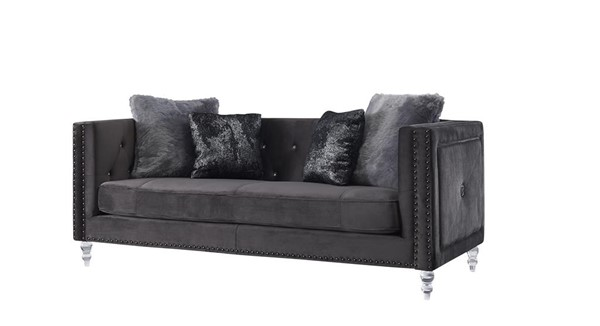 Global Furniture UFM802 Dark Grey Velvet Sofa GL-UFM802A-DRK-GRY-VELVET-CC-68-S