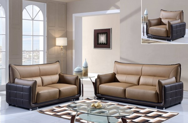 Contemporary Light Dark Brown Bonded Leather Living Room Set GL-UFY220-RV-LR