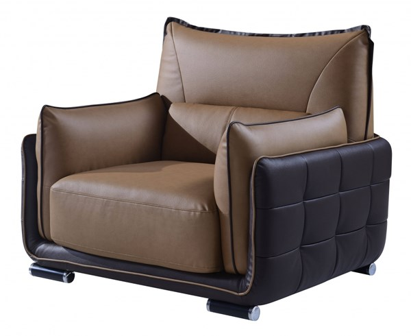 Contemporary Light Dark Brown Bonded Leather Chair GL-UFY220-RV-CH