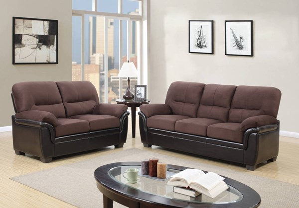 Rider Chocolate Brown Padded Microfiber PU 3pc Living Room Set GL-UMC3-KD-S-L-CH