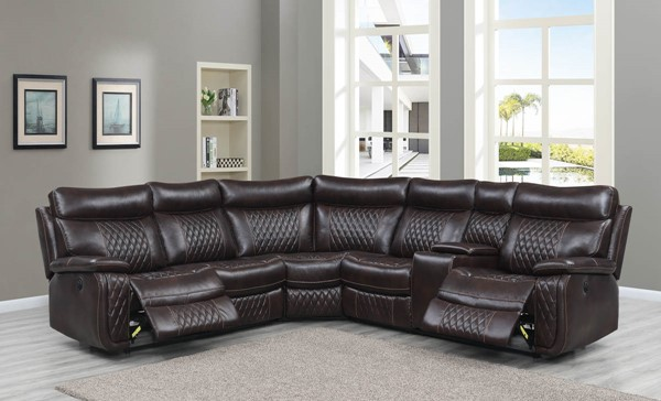 Global Furniture UR7260B Brown 3pc Sectional GL-UR7260B-BROWN-SECTIONAL