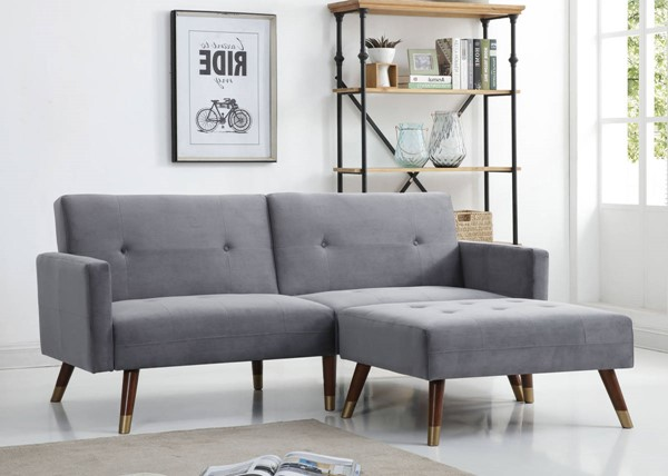 Glory Furniture Turin Gray Sofa Bed with Ottoman GLRY-G0162-FTN-S3