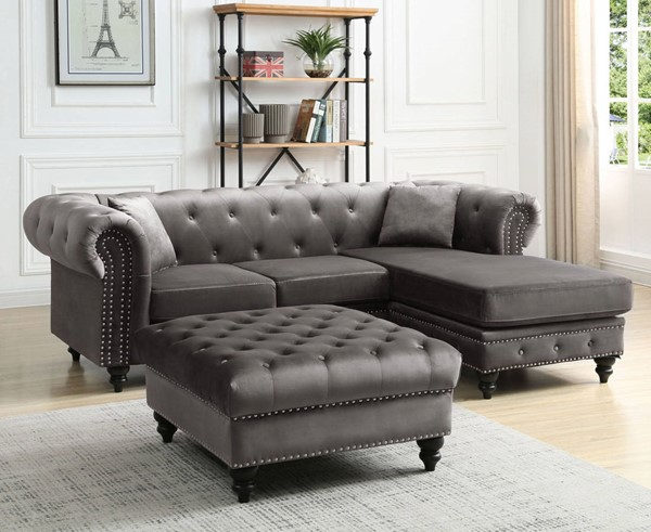 Glory Furniture Nola Dark Gray Velvet Sectional with Ottoman GLRY-G0350-LR-S1