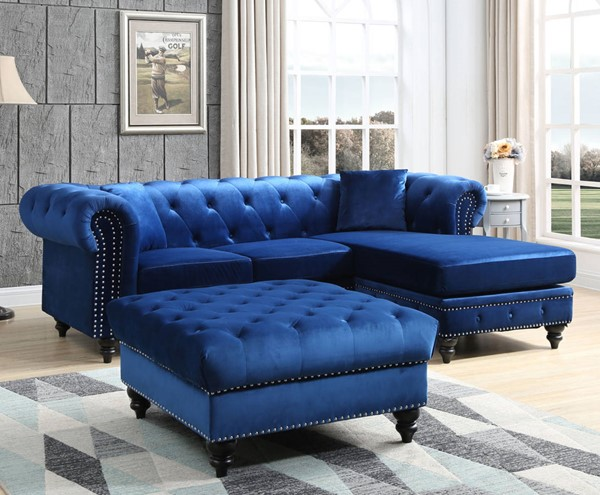 Glory Furniture Nola Navy Blue Velvet Sectional with Ottoman GLRY-G0351-LR-S2