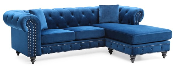Glory Furniture Nola Navy Blue Velvet Sofa Chaise GLRY-G0351B-SC